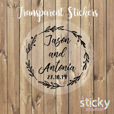 Personalised Transparent Wedding Stickers - Wreath Design